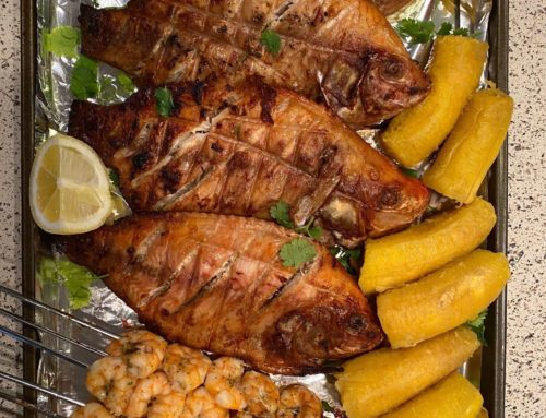 Grilled Tilapia, Shrimp Skewers and boiled plantains